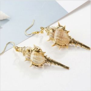 Conch seashells with gold earrings